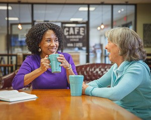 Ladies enjoying coffee and conversation in the Shoreline Cafe